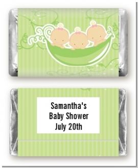 Triplets Three Peas in a Pod Caucasian Three Girls - Personalized Baby Shower Mini Candy Bar Wrappers