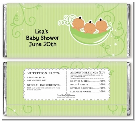 Triplets Three Peas in a Pod Hispanic - Personalized Baby Shower Candy Bar Wrappers