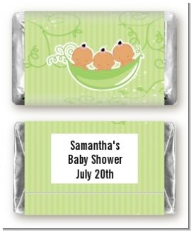 Triplets Three Peas in a Pod Hispanic Three Girls - Personalized Baby Shower Mini Candy Bar Wrappers
