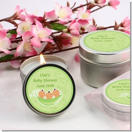 Triplets Three Peas in a Pod Hispanic Two Girls One Boy - Baby Shower Candle Favors