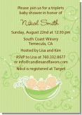 Triplets Three Peas in a Pod Caucasian - Baby Shower Invitations