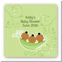 Triplets Three Peas in a Pod African American - Square Personalized Baby Shower Sticker Labels