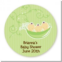 Triplets Three Peas in a Pod Asian - Round Personalized Baby Shower Sticker Labels