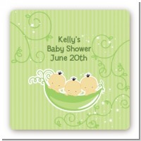 Triplets Three Peas in a Pod Asian - Square Personalized Baby Shower Sticker Labels