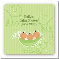 Triplets Three Peas in a Pod Hispanic - Square Personalized Baby Shower Sticker Labels