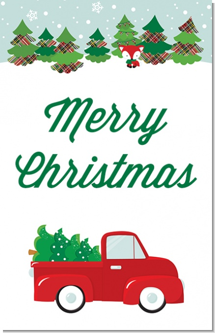 Vintage Red Truck Christmas Decor.Vintage Red Truck With Tree Personalized Christmas Wall Art