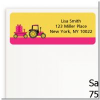 Tractor Truck Pink - Baby Shower Return Address Labels
