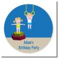 Tumble Gym - Round Personalized Birthday Party Sticker Labels thumbnail