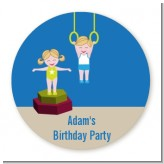 Tumble Gym - Round Personalized Birthday Party Sticker Labels