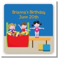 Tumble Gym - Square Personalized Birthday Party Sticker Labels thumbnail
