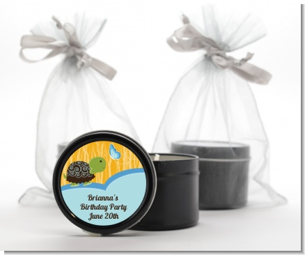 Turtle Blue - Birthday Party Black Candle Tin Favors
