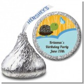 Turtle Blue - Hershey Kiss Birthday Party Sticker Labels