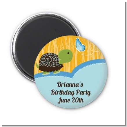 Turtle Blue - Personalized Birthday Party Magnet Favors