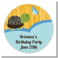 Turtle Blue - Round Personalized Birthday Party Sticker Labels thumbnail