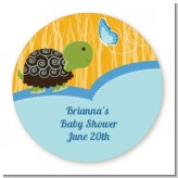Baby Turtle Blue - Round Personalized Baby Shower Sticker Labels