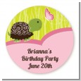 Turtle Girl - Round Personalized Birthday Party Sticker Labels thumbnail