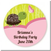 Turtle Girl - Round Personalized Birthday Party Sticker Labels