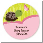 Baby Turtle Pink - Round Personalized Baby Shower Sticker Labels