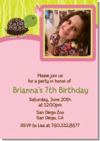 Turtle Girl - Photo Birthday Party Invitations