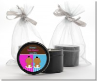 Twin Babies 1 Boy and 1 Girl African American - Baby Shower Black Candle Tin Favors