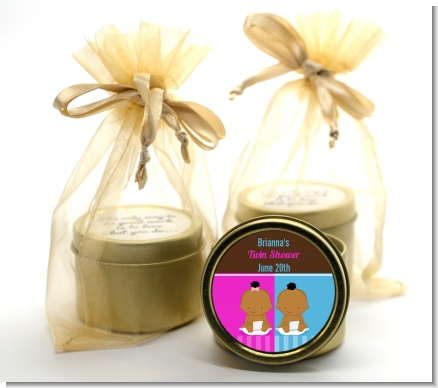 Twin Babies 1 Boy and 1 Girl African American - Baby Shower Gold Tin Candle Favors
