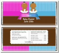 Twin Babies 1 Boy and 1 Girl African American - Personalized Baby Shower Candy Bar Wrappers