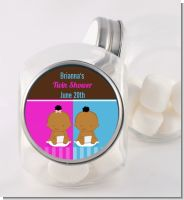 Twin Babies 1 Boy and 1 Girl African American - Personalized Baby Shower Candy Jar