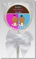Twin Babies 1 Boy and 1 Girl African American - Personalized Baby Shower Lollipop Favors