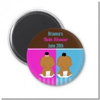 Twin Babies 1 Boy and 1 Girl African American - Personalized Baby Shower Magnet Favors