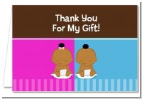 Twin Babies 1 Boy and 1 Girl African American - Baby Shower Thank You Cards