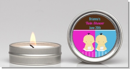 Twin Babies 1 Boy and 1 Girl Asian - Baby Shower Candle Favors