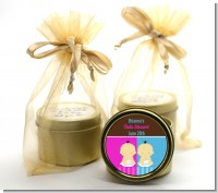 Twin Babies 1 Boy and 1 Girl Asian - Baby Shower Gold Tin Candle Favors