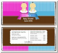 Twin Babies 1 Boy and 1 Girl Asian - Personalized Baby Shower Candy Bar Wrappers