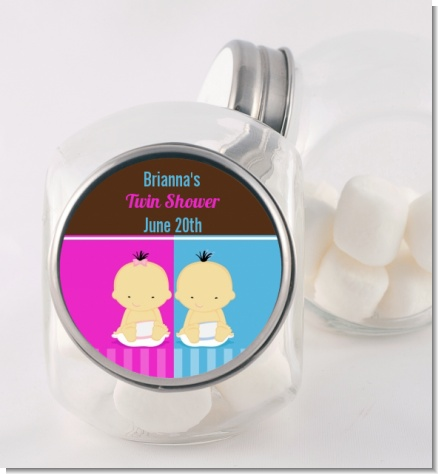 Twin Babies 1 Boy and 1 Girl Asian - Personalized Baby Shower Candy Jar