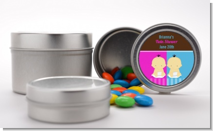 Twin Babies 1 Boy and 1 Girl Asian - Custom Baby Shower Favor Tins