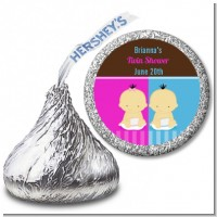 Twin Babies 1 Boy and 1 Girl Asian - Hershey Kiss Baby Shower Sticker Labels