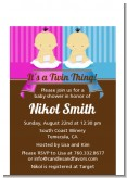 Twin Babies 1 Boy and 1 Girl Asian - Baby Shower Petite Invitations