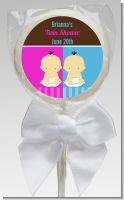 Twin Babies 1 Boy and 1 Girl Asian - Personalized Baby Shower Lollipop Favors