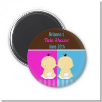 Twin Babies 1 Boy and 1 Girl Asian - Personalized Baby Shower Magnet Favors