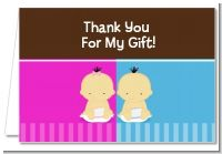 Twin Babies 1 Boy and 1 Girl Asian - Baby Shower Thank You Cards
