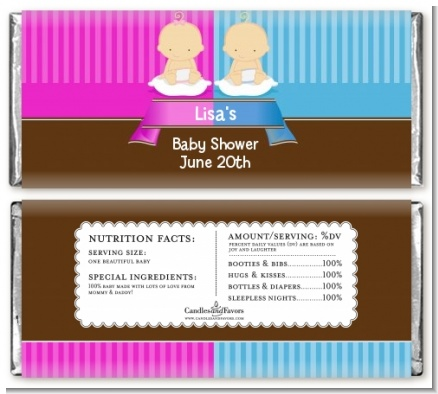 Twin Babies 1 Boy and 1 Girl Caucasian - Personalized Baby Shower Candy Bar Wrappers