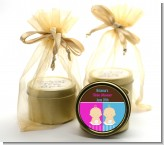 Twin Babies 1 Boy and 1 Girl Caucasian - Baby Shower Gold Tin Candle Favors