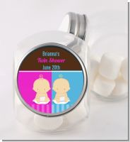 Twin Babies 1 Boy and 1 Girl Caucasian - Personalized Baby Shower Candy Jar
