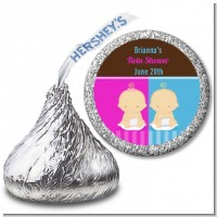 Twin Babies 1 Boy and 1 Girl Caucasian - Hershey Kiss Baby Shower Sticker Labels