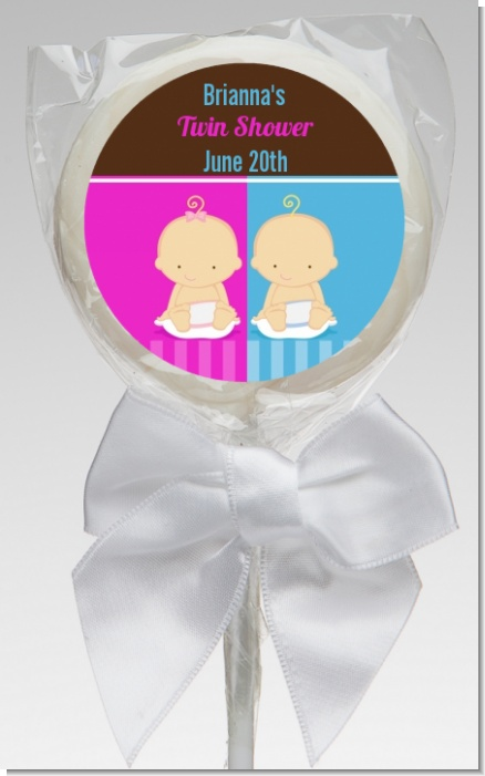Twin Babies 1 Boy and 1 Girl Caucasian - Personalized Baby Shower Lollipop Favors