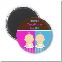 Twin Babies 1 Boy and 1 Girl Caucasian - Personalized Baby Shower Magnet Favors