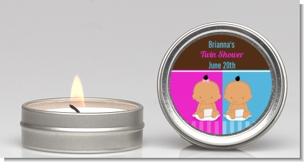 Twin Babies 1 Boy and 1 Girl Hispanic - Baby Shower Candle Favors