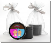 Twin Babies 1 Boy and 1 Girl Hispanic - Baby Shower Black Candle Tin Favors