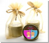 Twin Babies 1 Boy and 1 Girl Hispanic - Baby Shower Gold Tin Candle Favors