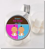 Twin Babies 1 Boy and 1 Girl Hispanic - Personalized Baby Shower Candy Jar